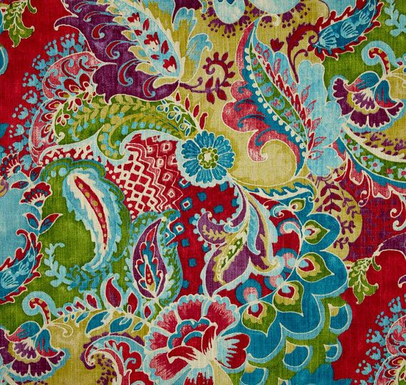 Bohemian Curtains Bright Multi Colored Floral Paisley