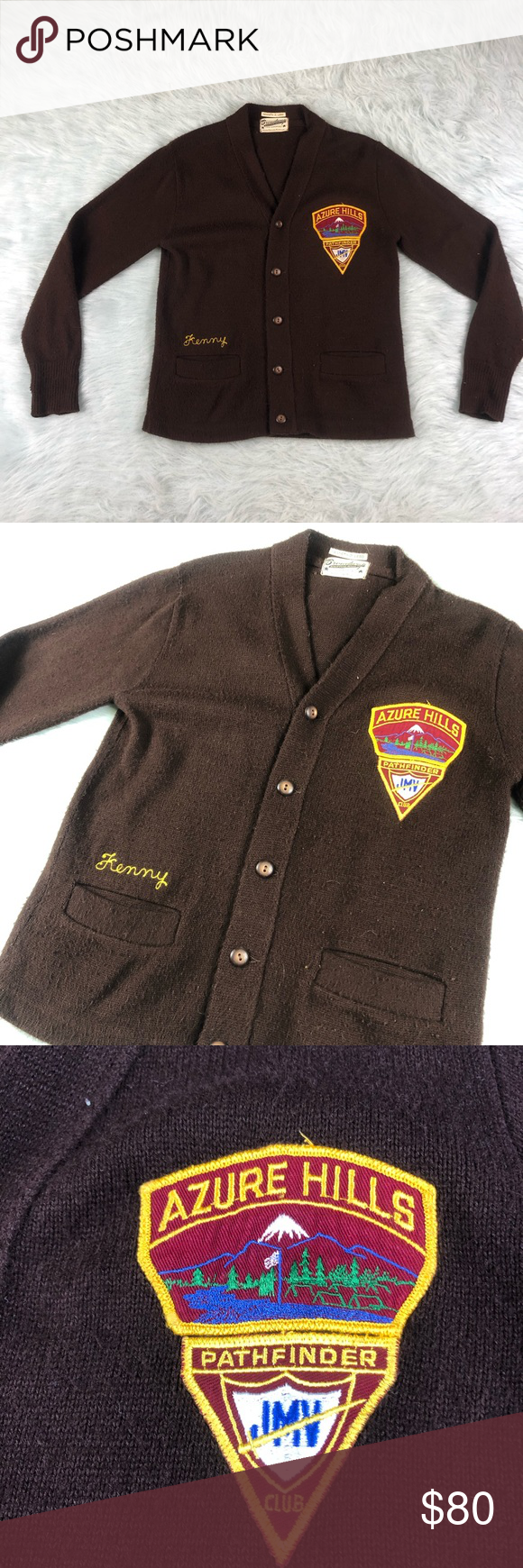 Vtg 50 S Jmv Pathfinders Club Broadway Knitting Unique Patch Button Sweater Knitting