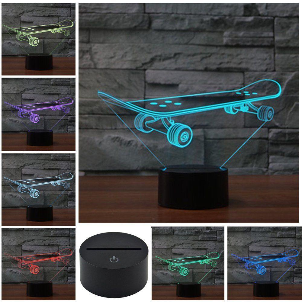 Werbung Skateboard 3d Lampe Optische Illusion Cooles Skateboard Nachtlicht Oder Einfach Als Deko Im Jugendzimmer Skate Sk Nachtlicht Kinder Lampen Lampe