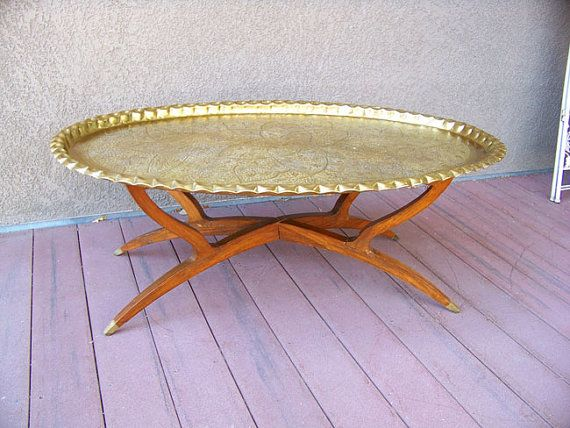 46 Oval Moroccan Brass Tray Table Antique By Antiqueaddictions