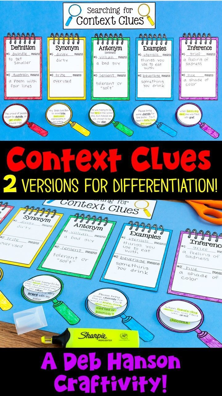 Teach your students about the five types of context clues with this fun, memorable activity! This craftivity file includes two versions to allow for differentiation.