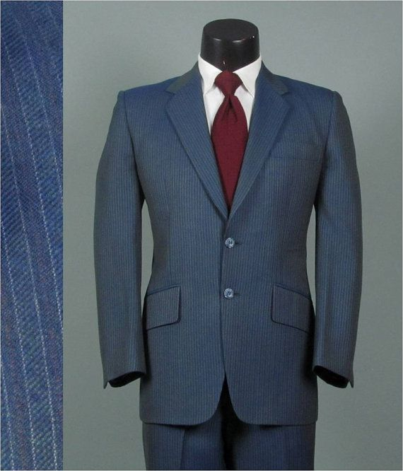 6372fe704 Vintage Mens Suit 1990s TEAL BLUE PINSTRIPED Wool by jauntyrooster, $140.00
