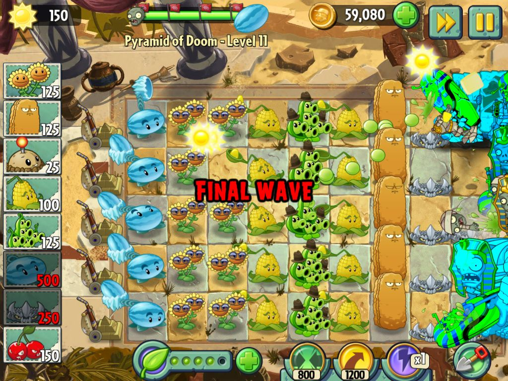 Template to complete any level on PvZ 2: Egypt. up to level 15 on ...