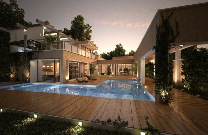 House With Pool Renders Pool Houses Modern Pool House Modern Pools