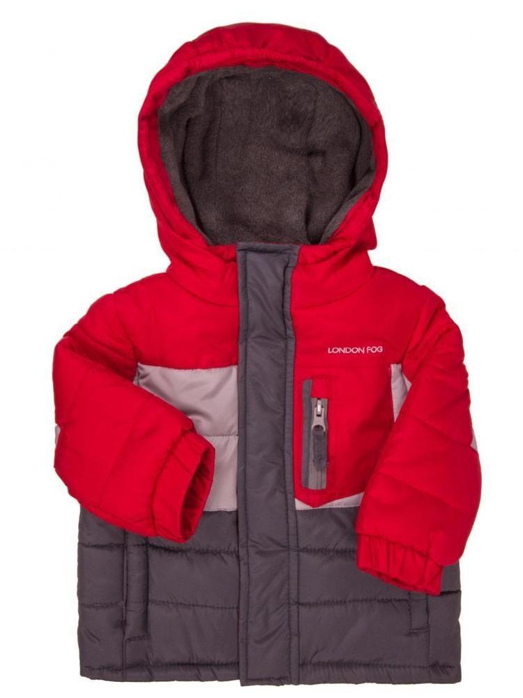 75d1de743 London Fog Winter Jacket Boys 24 Months Gray Red Coat Outdoor ...