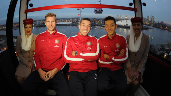 Arsenal's Germans on The Emirates Urban Cable Car.