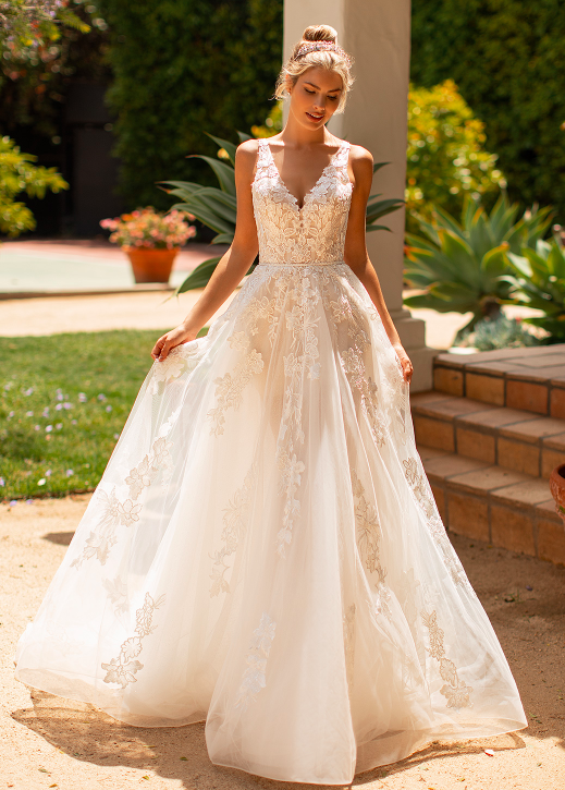 Aline floral bridal gown with a detachable strapless mini