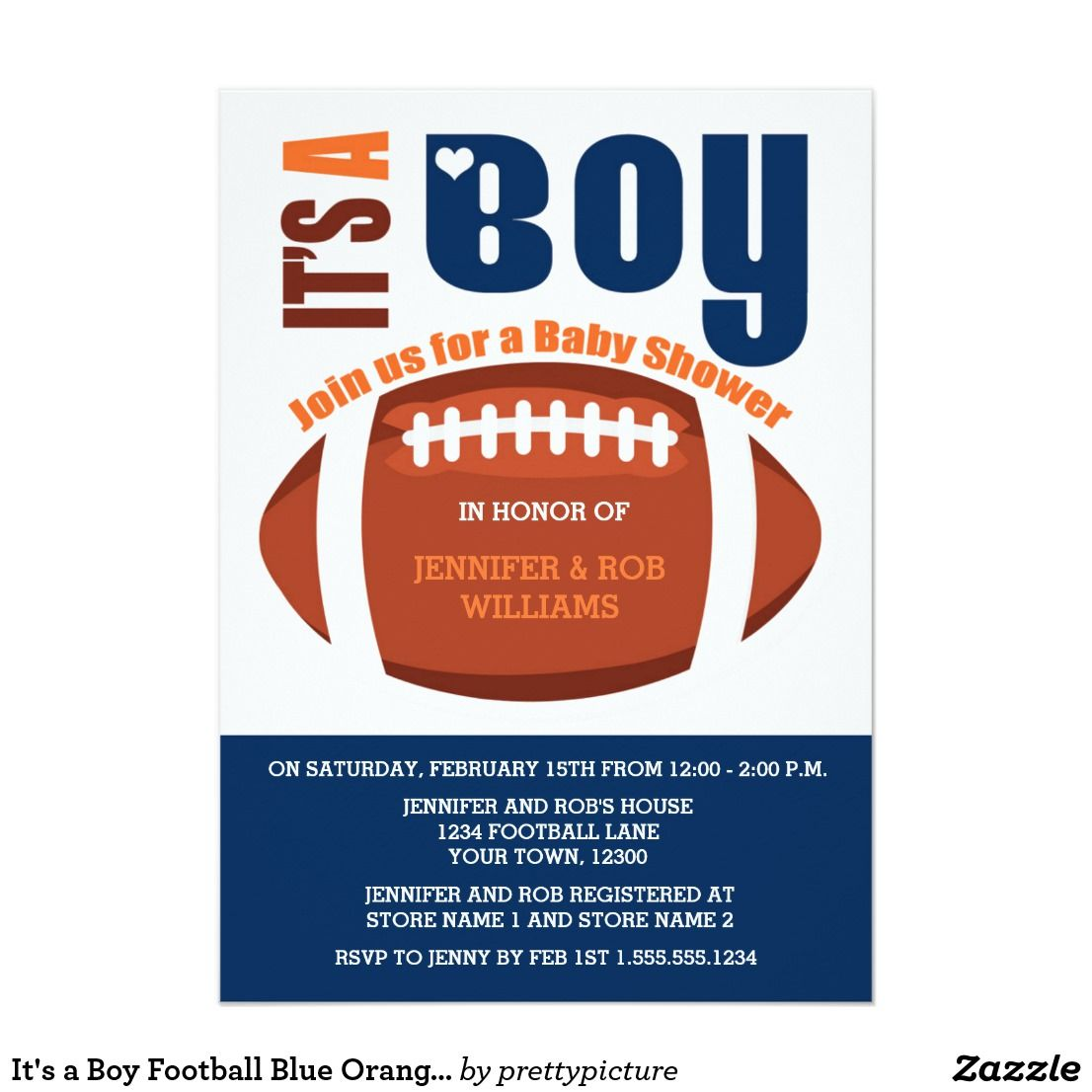 It S A Boy Football Blue Orange Baby Shower Invitation Baby Shower