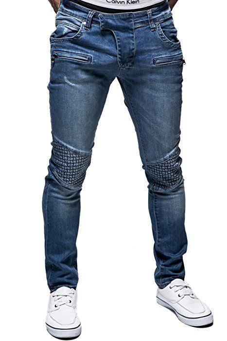 48bf7080 BALANDI Pantalón de hombre de cintura baja y tallaje ajustado (estilo chino  vaquero); Tamaño S, azul