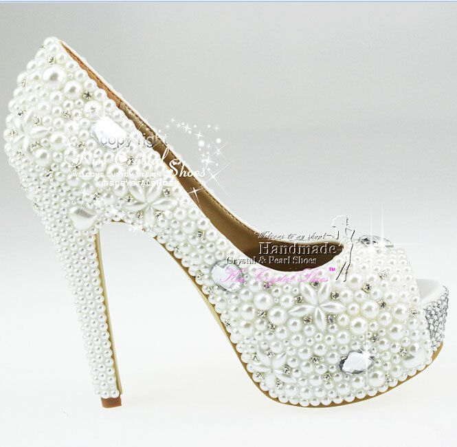 Peep Toe Wedding Shoes Ivory Pearls And By