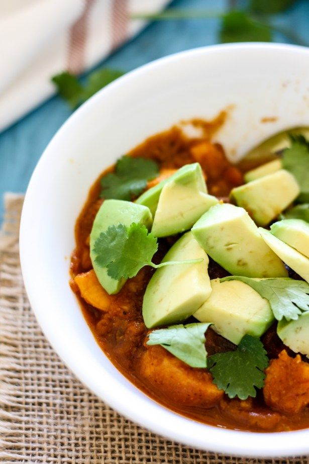 This super simple Vegan Sweet Potato Black Bean Pumpkin Chili comes together with pantry staples in just 4 hours in the crock pot. Hearty and filling with 8 grams of fiber, 7 grams of plant protein, and 37 grams of complex carbohydrates.