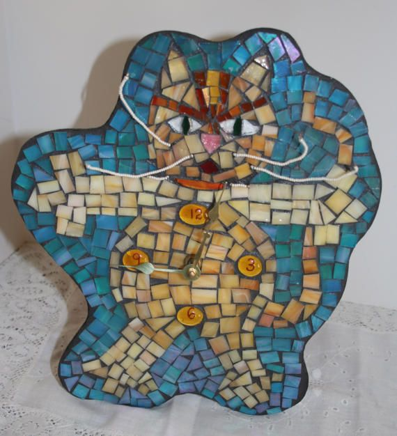 Mosaic Cat Clock Crazy Stained Glass Mosaic Clock Folk Art One of a Kind