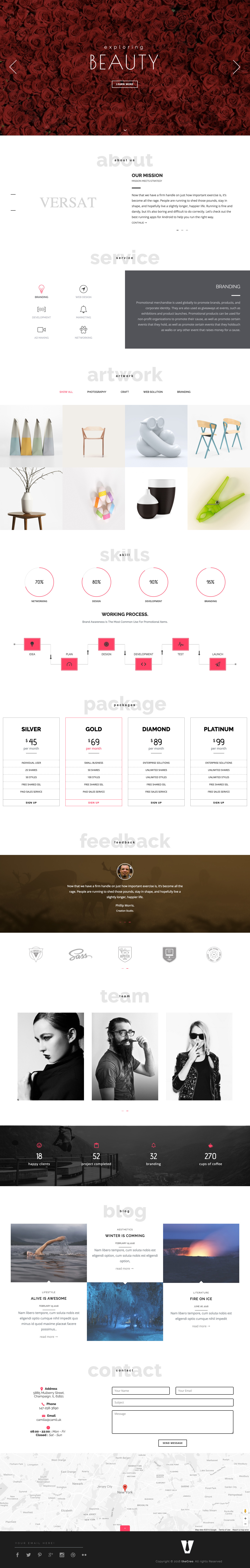 versa is a long scrolling one page html template with 12 intro