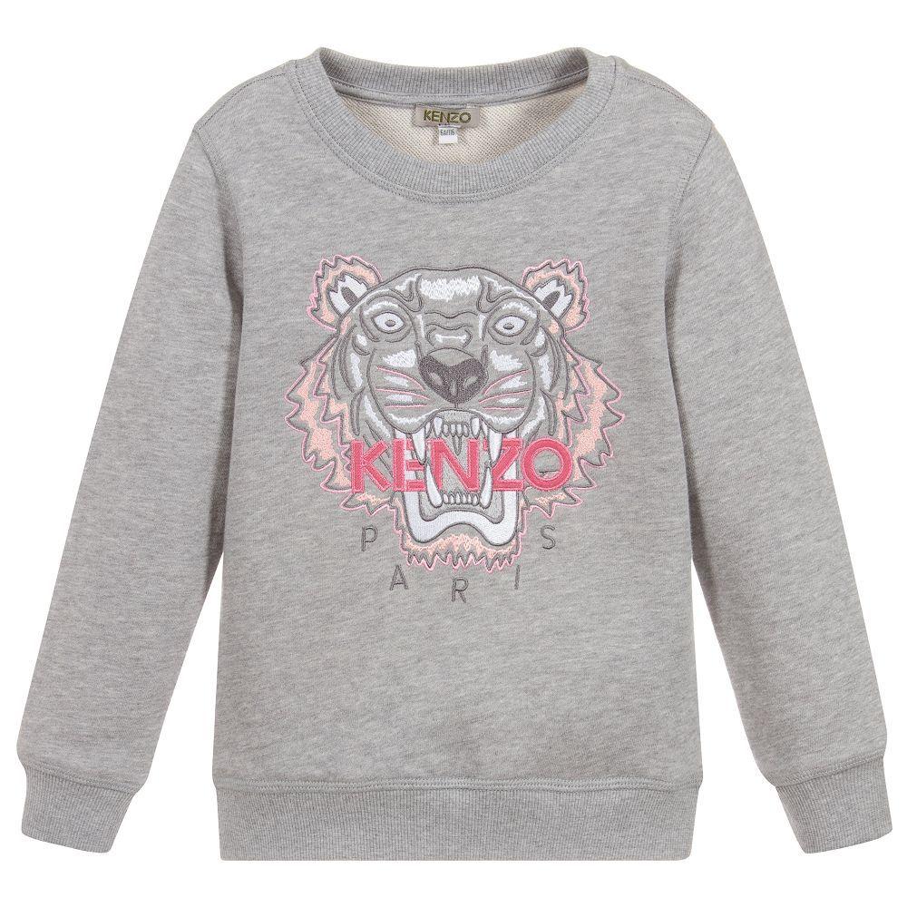 4fe022062e881c Grey marl Mini-me #sweatshirt for #girls, by #Kenzo Kids, with the ...