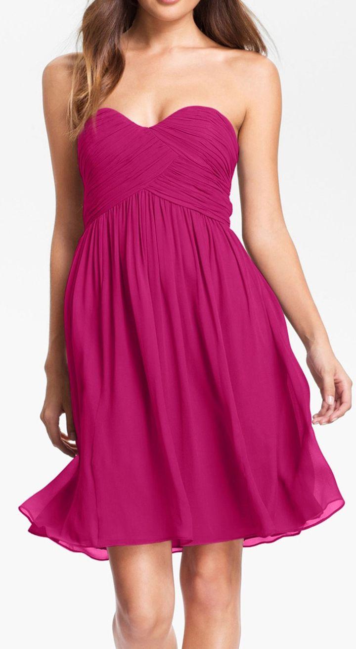 raspberry strapless chiffon dress | Ideas for Lynzie! | Pinterest ...
