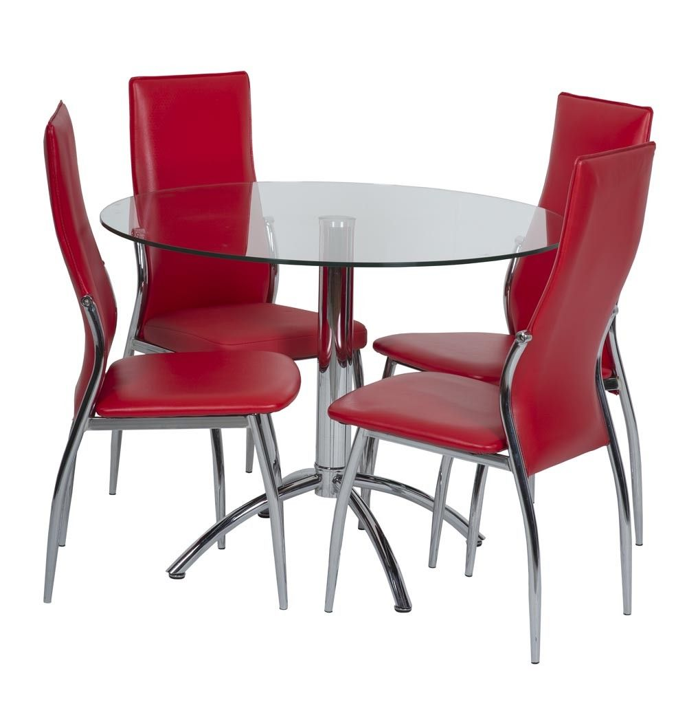 red upholstered dining chairs. The Camino Dining Chair Is Upholstered In Red Faux Leather With Chrome Legs. #diningchairs #diningchairsonline #diningroomchairs Chairs
