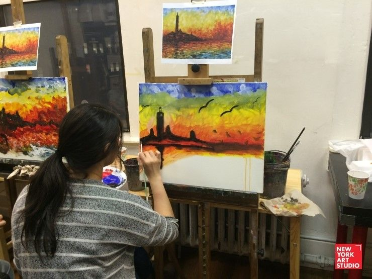 The Best Art Classes In Nyc Ny Art Studio Byob Painting Class