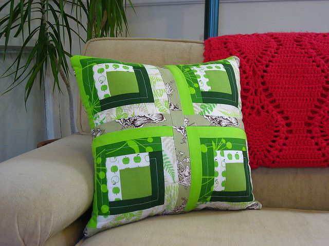 green log cabin pillow by BrianinLR, via Flickr