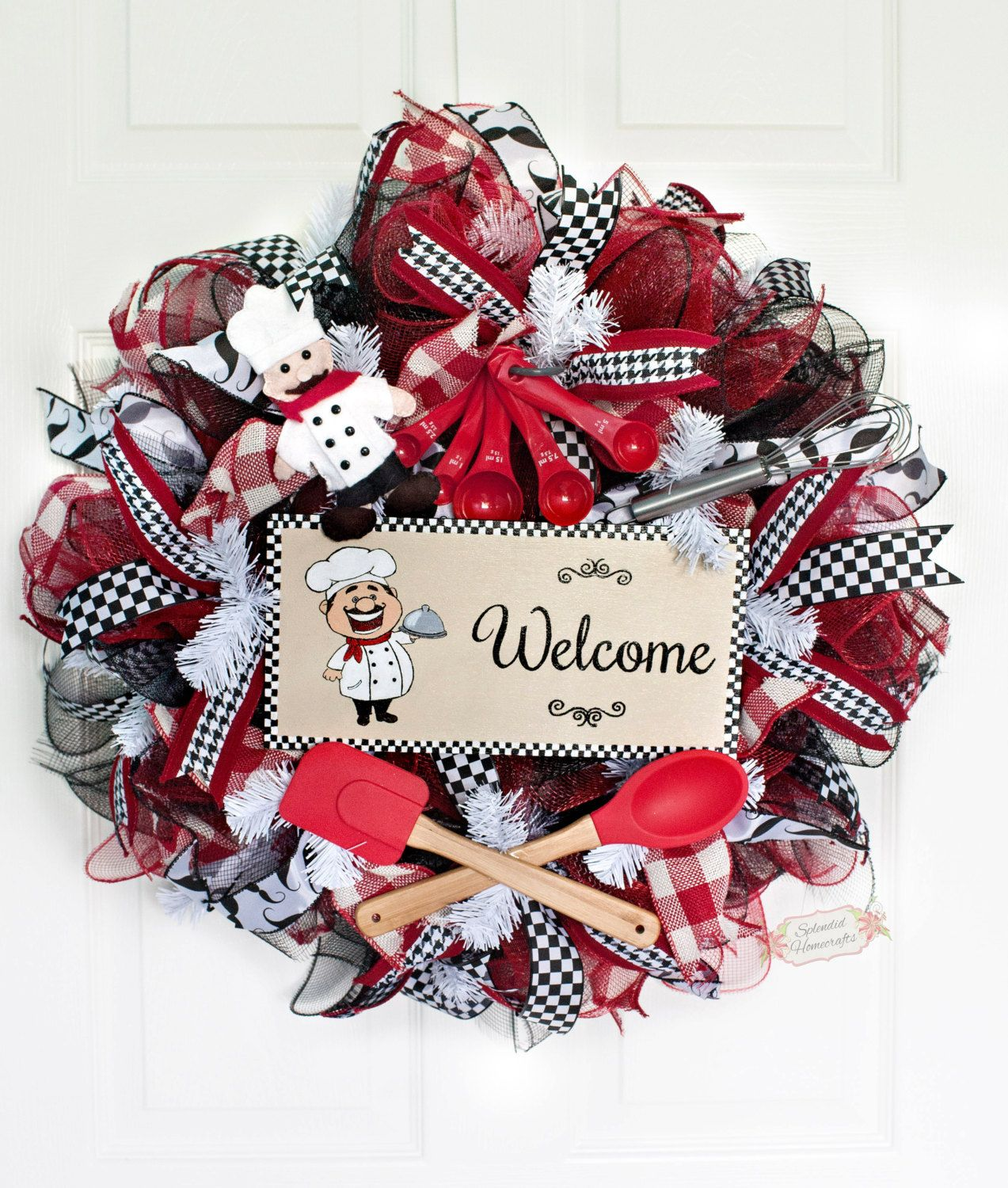 24 Chef Welcome Deco Mesh Wreath Chef Wreath Welcome Mesh Wreath Red