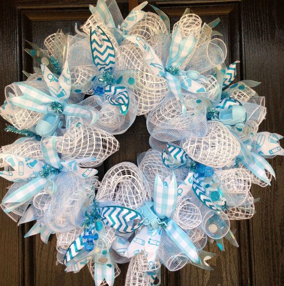It's A Boy! baby blue and white deco mesh-birth announcement- baby shower-Christening-birth-hospital-wreath on Etsy, $50.00