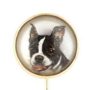 Antique Victorian 14k Gold Boston Terrier Dog Essex Crystal Stick