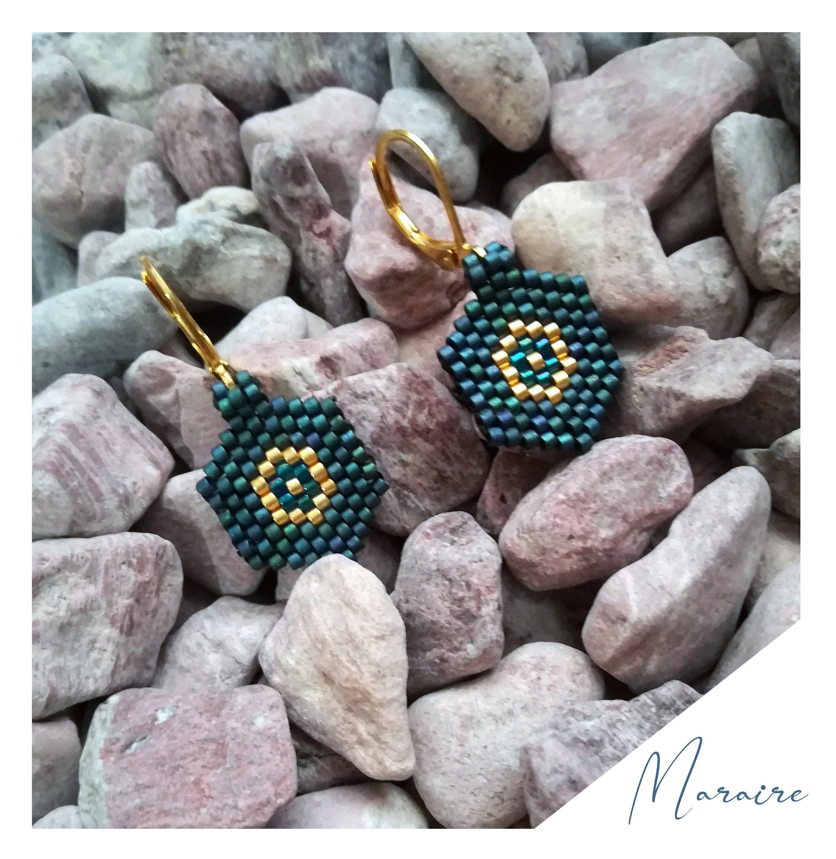 Minimalist hexagon beaded Miyuki dangle earrings, small geometric handmade earrings, Simple everyday hook earrings, blue Miyuki earrings