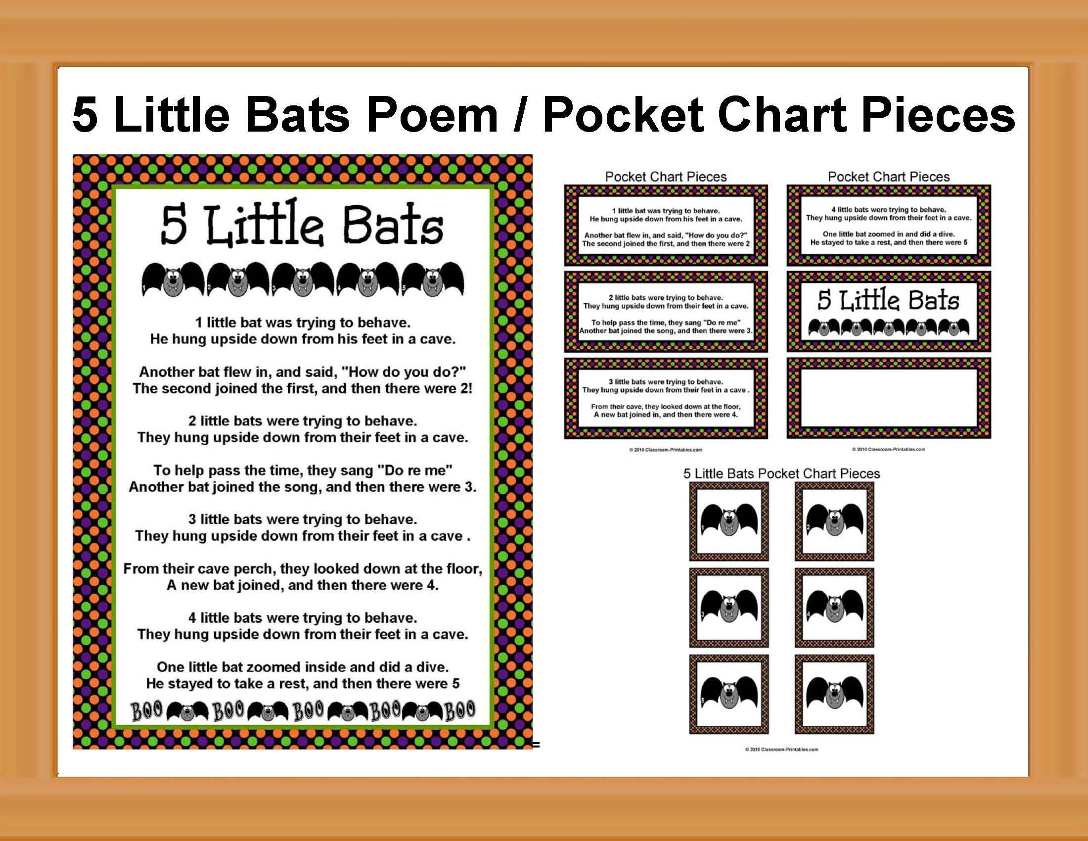 5 Little Bats Poem With Pocket Chart Pieces