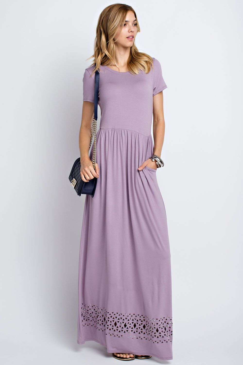 1cf91067be7 We have found a maxi dress in the most beautiful shade of purple. Plus it  has short sleeves and side pockets! It features a tribal pattern cut-out  along the ...