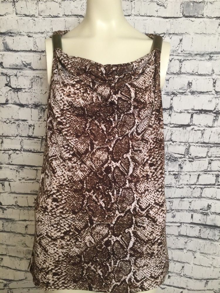 1cae222501c Kenneth Cole Reaction Sleeveless Multi Color Top Brown Animal Print Small  Blouse  KennethColeReaction  Blouse  Career