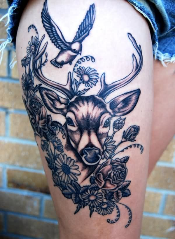 Black Ink Deer With Flowers Tattoo Design For Upper Leg Thigh Tattoo Designs Tattoos Thigh Tattoo