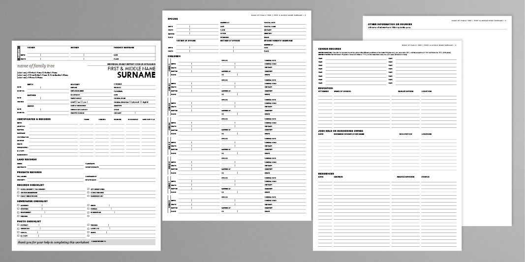 UPDATED The Ultimate All-In-One Genealogy Worksheet Genealogy