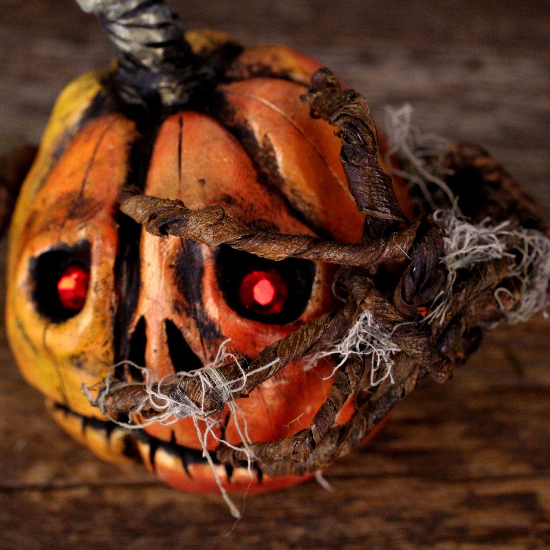 Jack O'Lantern Halloween Decoration, Paki the Pumpkin Witnessing Halloween Night. $35.00, via Etsy.