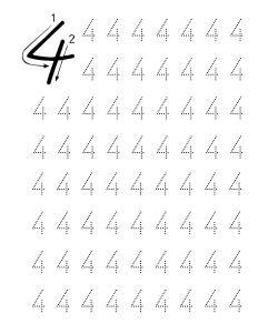Dört 4 Rakami çizgi çalişmasi Rakamlar Preschool Math School