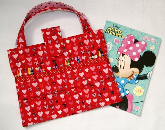 Red Hearts Crayon Holder, Coloring Book Tote, Crayon Tote for Kids ...