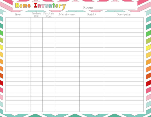 Home Inventory Printable Great for keeping track of things you – Household Inventory List Template
