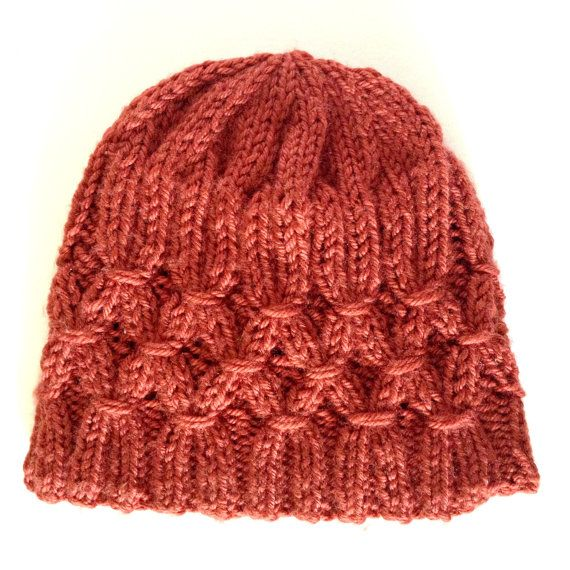 Women's smocked hat/beanie in copper.  Available for sale at www.knittingbykali.etsy.com