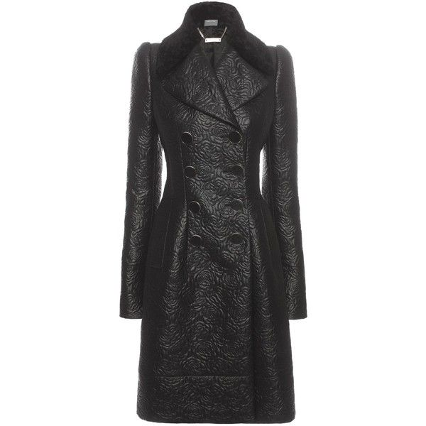 Alexander McQueen Small Flowering Roses Double Breasted Coat ($4,175) ❤ liked on Polyvore featuring outerwear, coats, black, black shearling coat, alexander mcqueen coat, alexander mcqueen, fitted coat and black coat