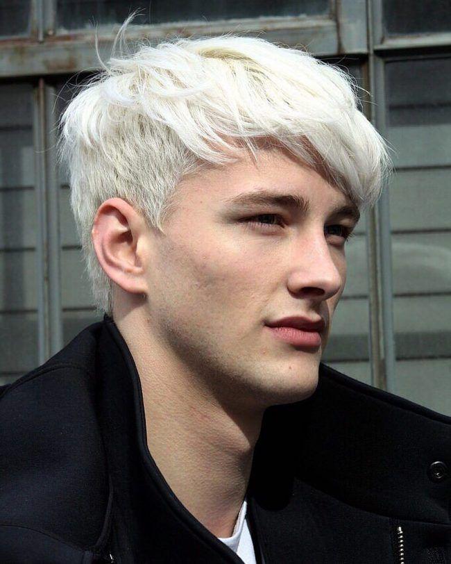 Bright White Blonde Men Hair Color Platinum Blonde Hair Men White Hair Men