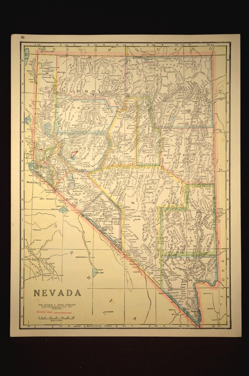 Nevada Map of Nevada Road Map Wall Decor Art Highway Map ...