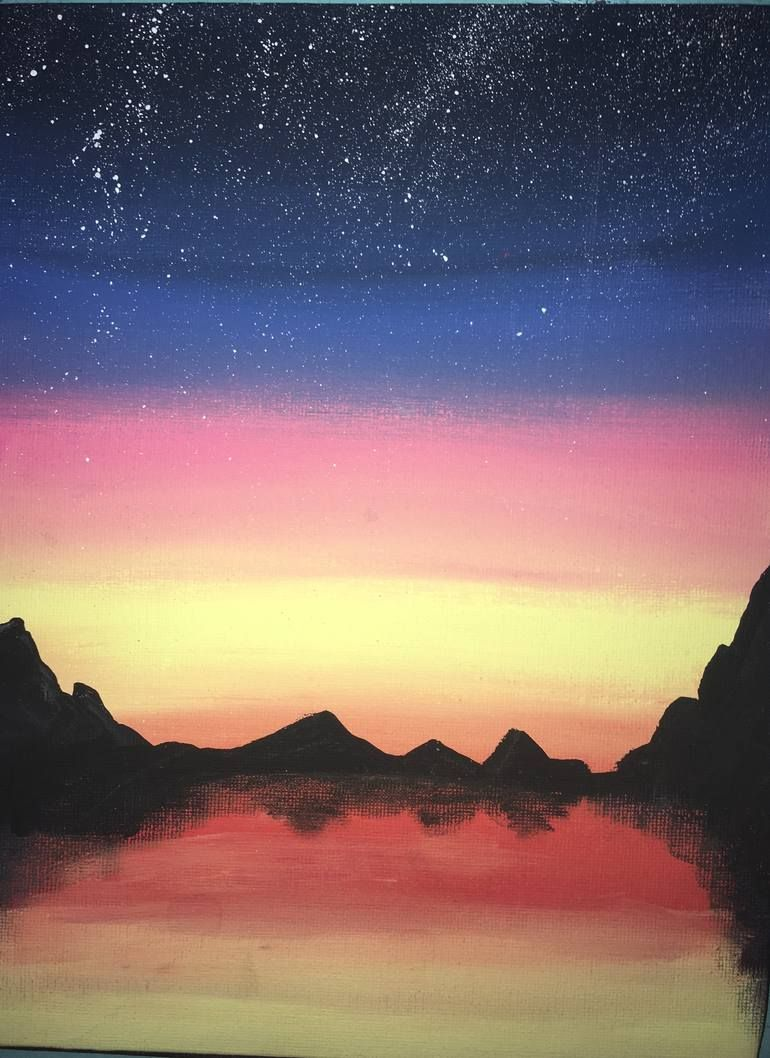 Easy Mountain Sunset Painting : mountain, sunset, painting, Mountains, Sunset, Painting, Landscape, Painting,, Canvas
