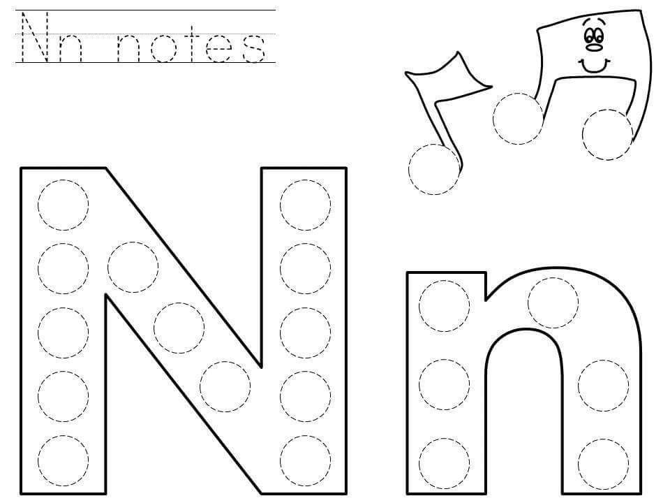 Printable Preschool Worksheets Dot Letters Letter N Crafts Printable letter n worksheets