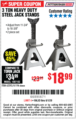 Pittsburgh Automotive 3 Ton Steel Jack Stands For 18 99 Jack Stands Harbor Freight Tools Harbor Freight Coupon