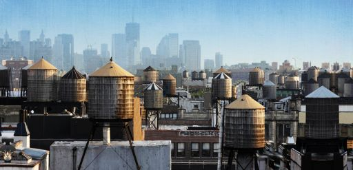 wooden water tank on top of New York city!