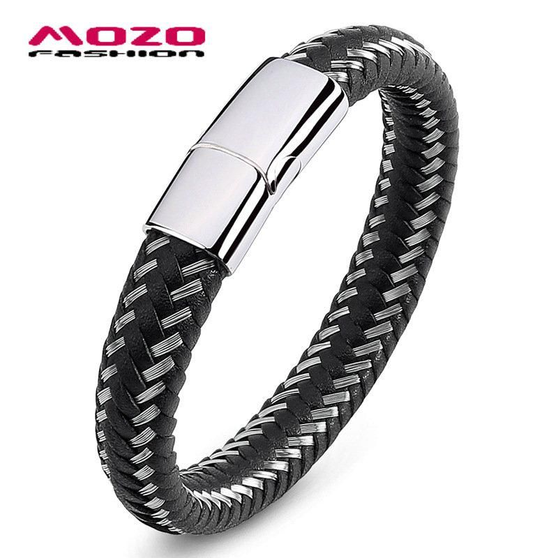 5pcs Men Fashion Bracelet Black Brown Leather Wire Rope Stainless Steel Magnetic Buckle Male Jewelry Ops2008 Yesterday S Price Us 36 12