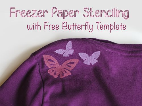 DIY Freezer Paper Stenciled T-Shirt Butterfly Template Printable - butterfly template
