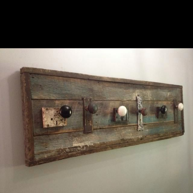 Coat Rack Made From Barn Wood And Old Door Knobs. Handmade By Jason Meier.