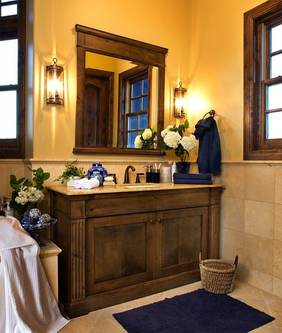 Rustic Single Bathroom Vanity With Beige Granite Counter Top Home