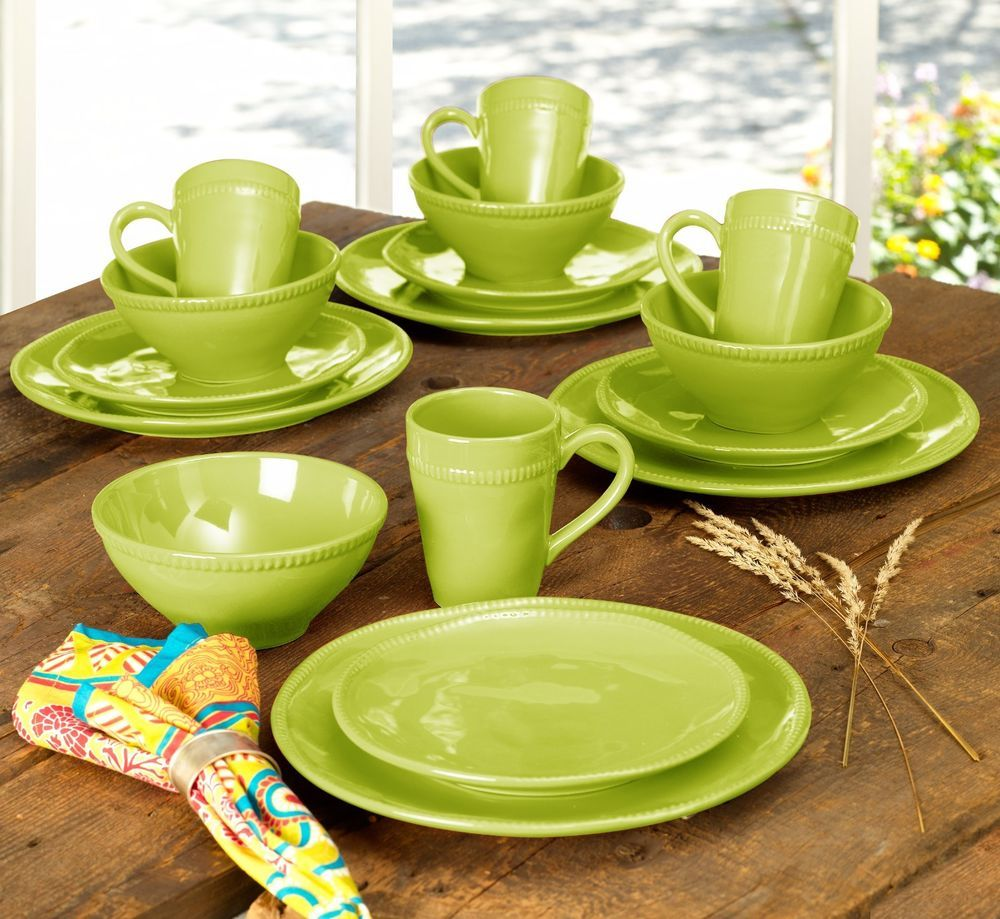 Algarve 16 Piece Dinnerware Set in Green by Euro Ceramica #EuroCeramica & Algarve 16 Piece Dinnerware Set in Green by Euro Ceramica ...