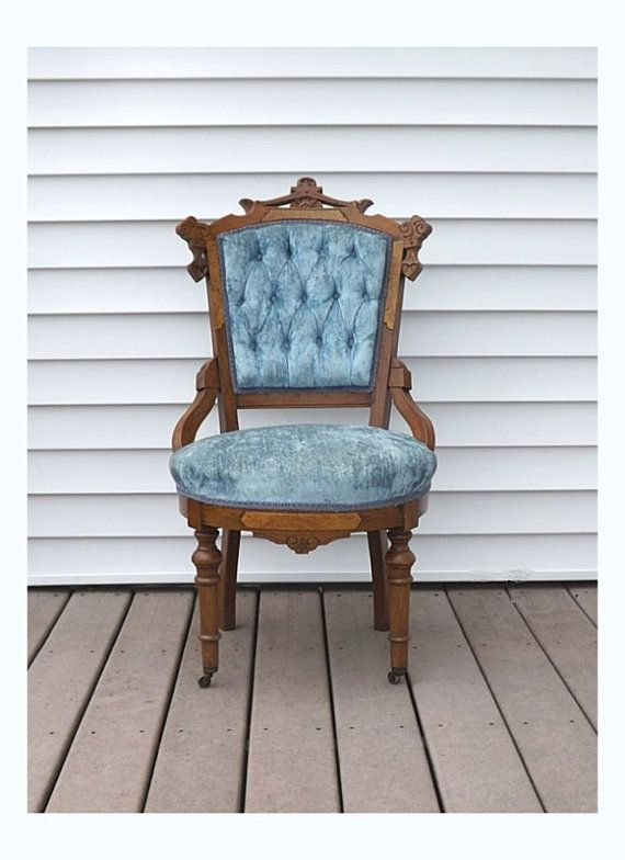 Gorgeous antique Victorian Eastlake side chair with blue velvet upholstery  has a tufted back. There - Victorian Eastlake Chair, Antique Carved Walnut Parlor Seat In Blue