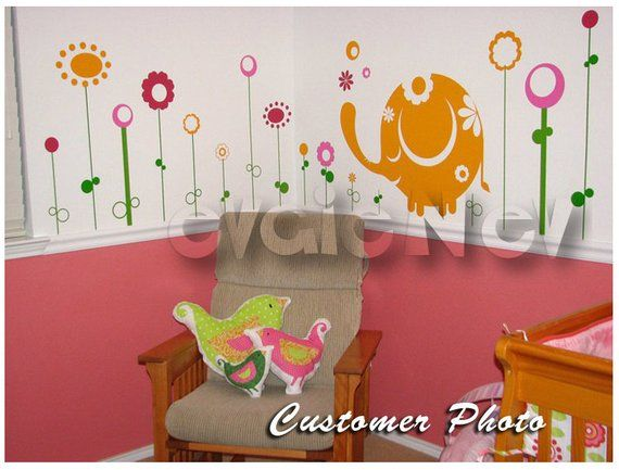 Wall Decals Canada Kids Baby Elephant With Flowers